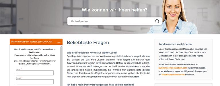 Wetten.com Casino Support