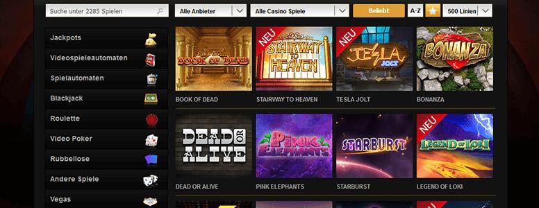 Videoslots Casino Spiele