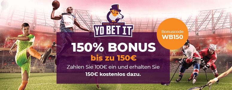 Yobetit Bonus Code bis zu 150 euro für Neukunden