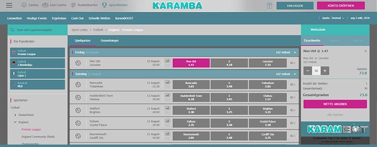 Karamba Sports Wettquoten