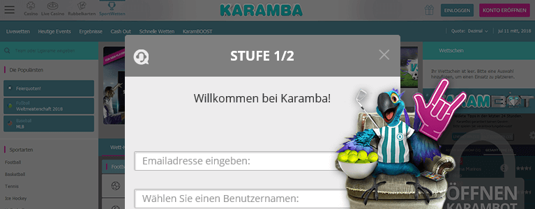 Karamba Sports Registrierung