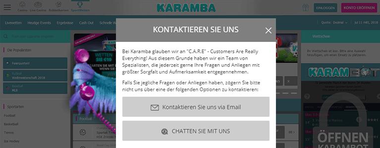 Karamba Sports Kundensupport