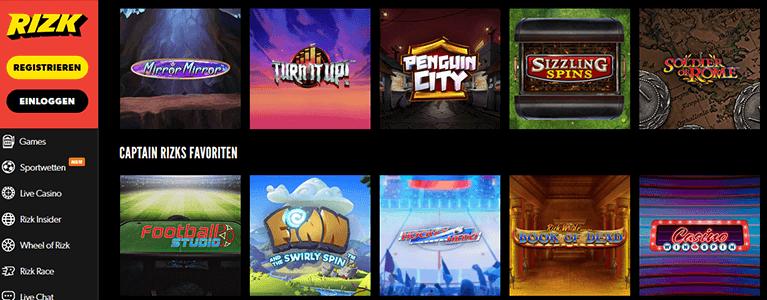 Rizk.com Spiele