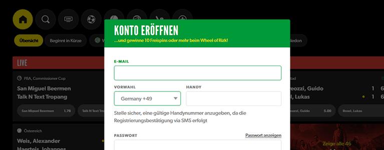 Rizk.com Registrierung