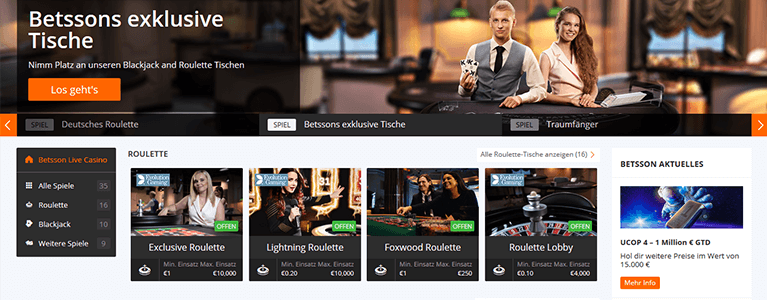 Betsson Casino Live Casino