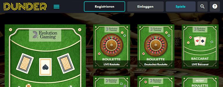 Dunder Casino Live Casino