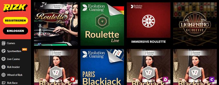 Rizk Casino Live Casino
