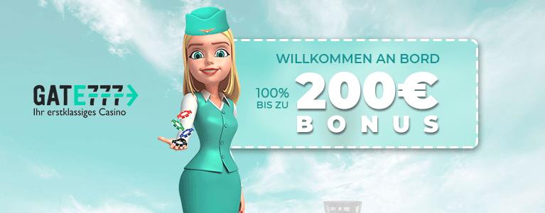 Gate777 Casino Aktion für Neukunden bis zu 200 Euro
