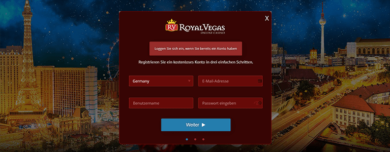 Royal Vegas Registrierung