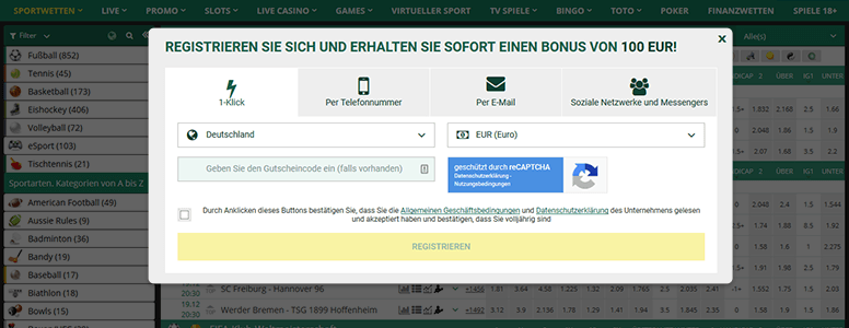 Betwinner Registrierung