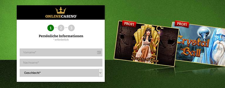 Onlinecasino.de Registrierung
