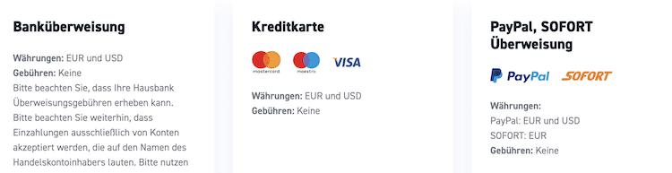 XTB Zahlungsmethoden