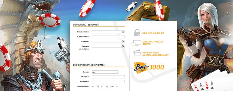 Bet3000 Casino Registrierung
