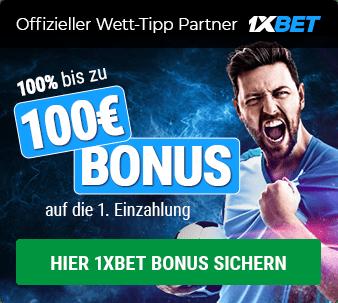 1XBET Sport Bonus - 100% bis zu 100€ für Neukunden